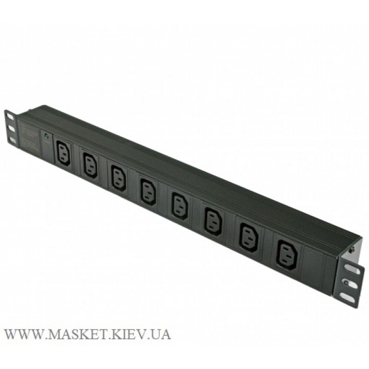 """Блок 19"""" на 8 розеток С13, с индикатором, без шнура, 1U"""