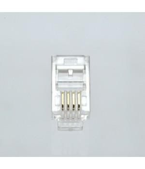 Коннектор телефонный RJ11, 4p4c упаковка 100 штук
