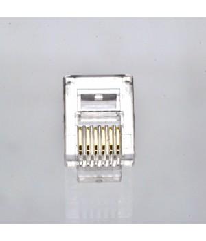 Коннектор телефонный RJ12, 6p6c упаковка 100 штук